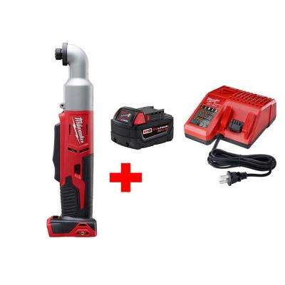 M18 18-Volt Lithium-Ion Cordless 1/4 in. Hex 2-Speed Right Angle Impact Driver W/ (1) 5.0Ah Battery and Charger