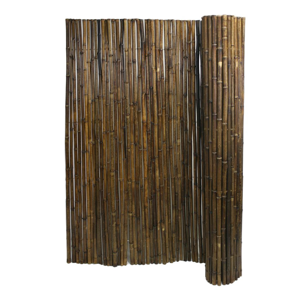 Backyard X-Scapes 6 ft  H x 8 ft  W x 1 in  D Caramel Brown Rolled Bamboo  Fence Panel