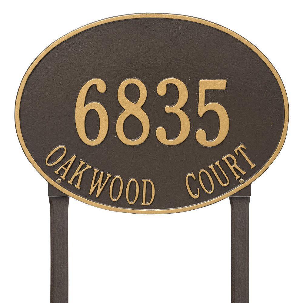 Hawthorne Estate Oval Bronze/Gold Lawn 2-Line Address Plaque