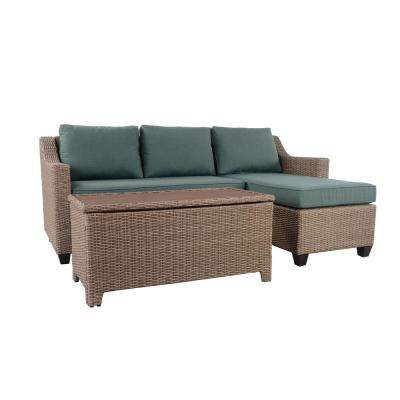 Amber Grove Natural Brown 3-Piece Resin Wicker Outdoor Sectional Set with Surplus Cushions