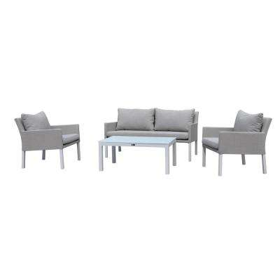 Empire 4 -Piece Aluminum Outdoor Sectional Set with Sand Cushions
