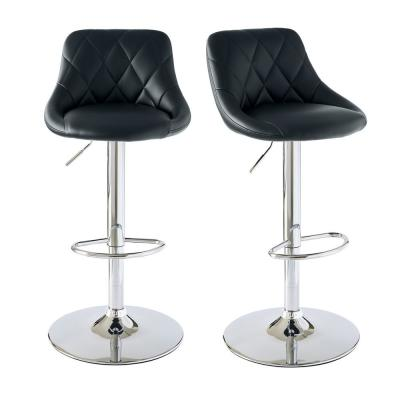 Baltimore Adjustable Black Bar Stool (Set of 2)