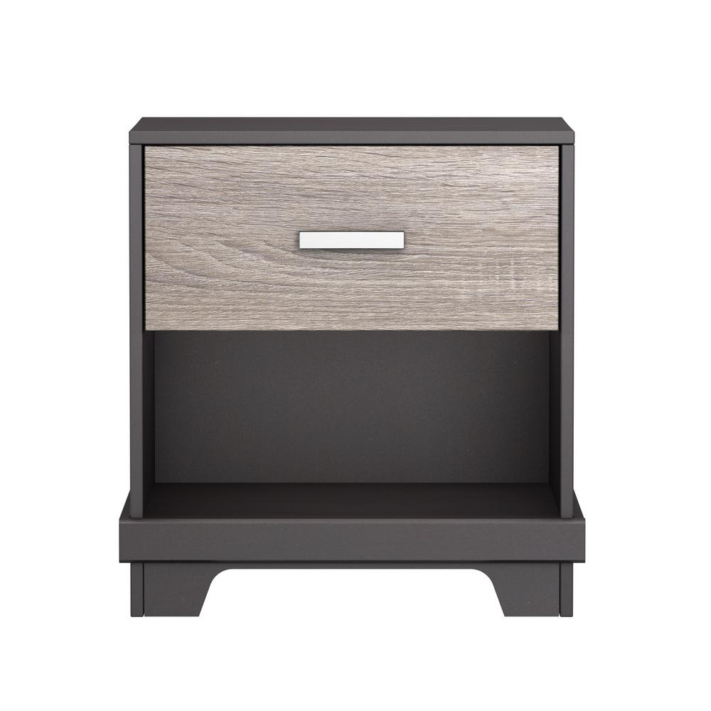Manhattan 1-Drawer Java Brown Nightstand with Sonoma