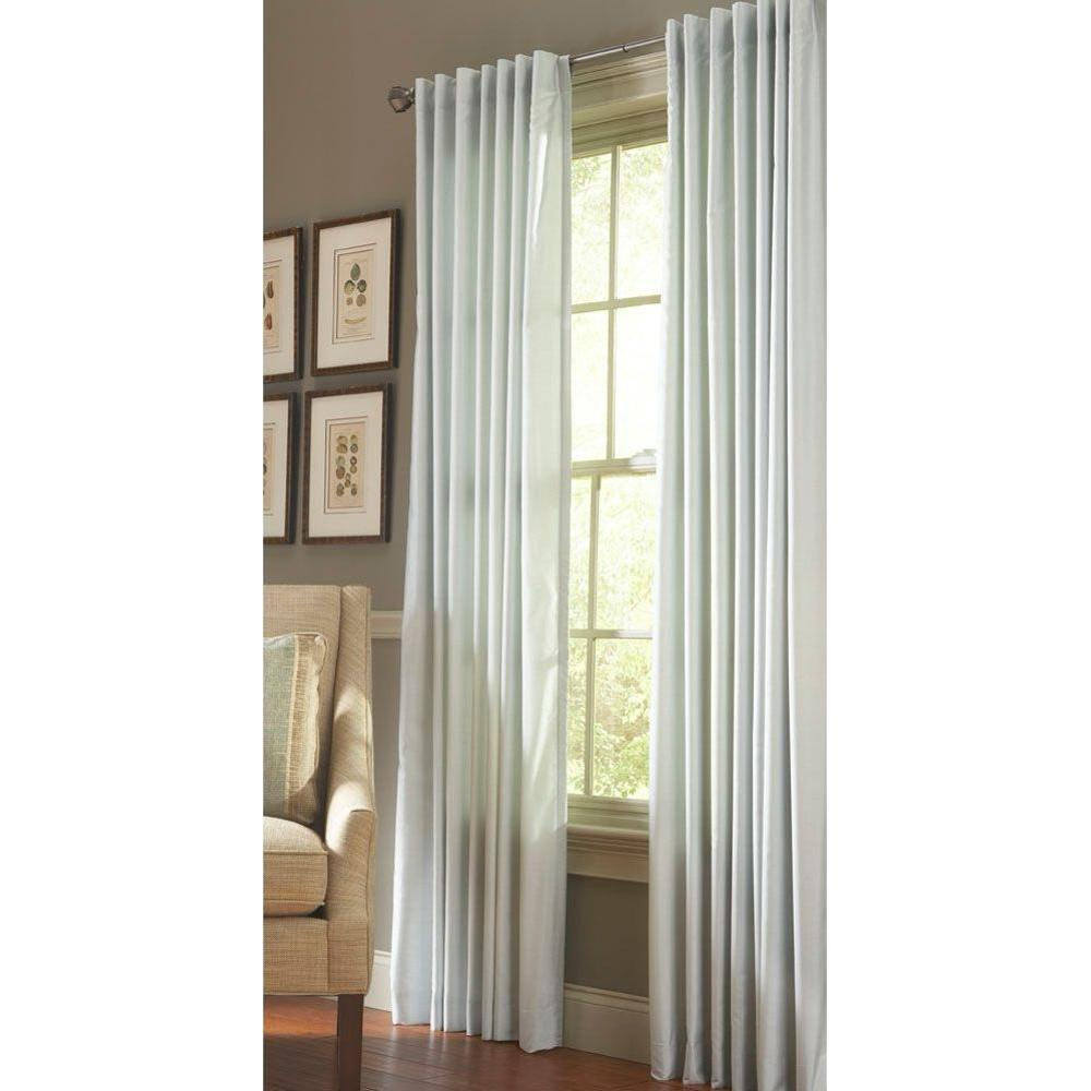 Martha Stewart Living Faux Silk Light Filtering Window Panel in Rainwater - 50 in. W x 63 in. L