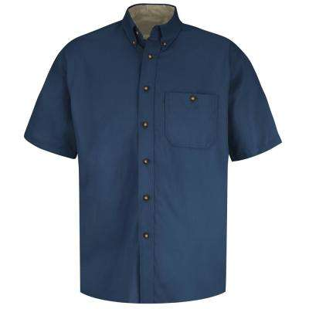 Men's Size 3XL Navy/Stone Cotton Contrast Dress Shirt