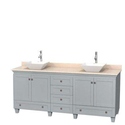 Acclaim 80 in. W x 22 in. D Vanity in Oyster Gray with Marble Vanity Top in Ivory with White Basins