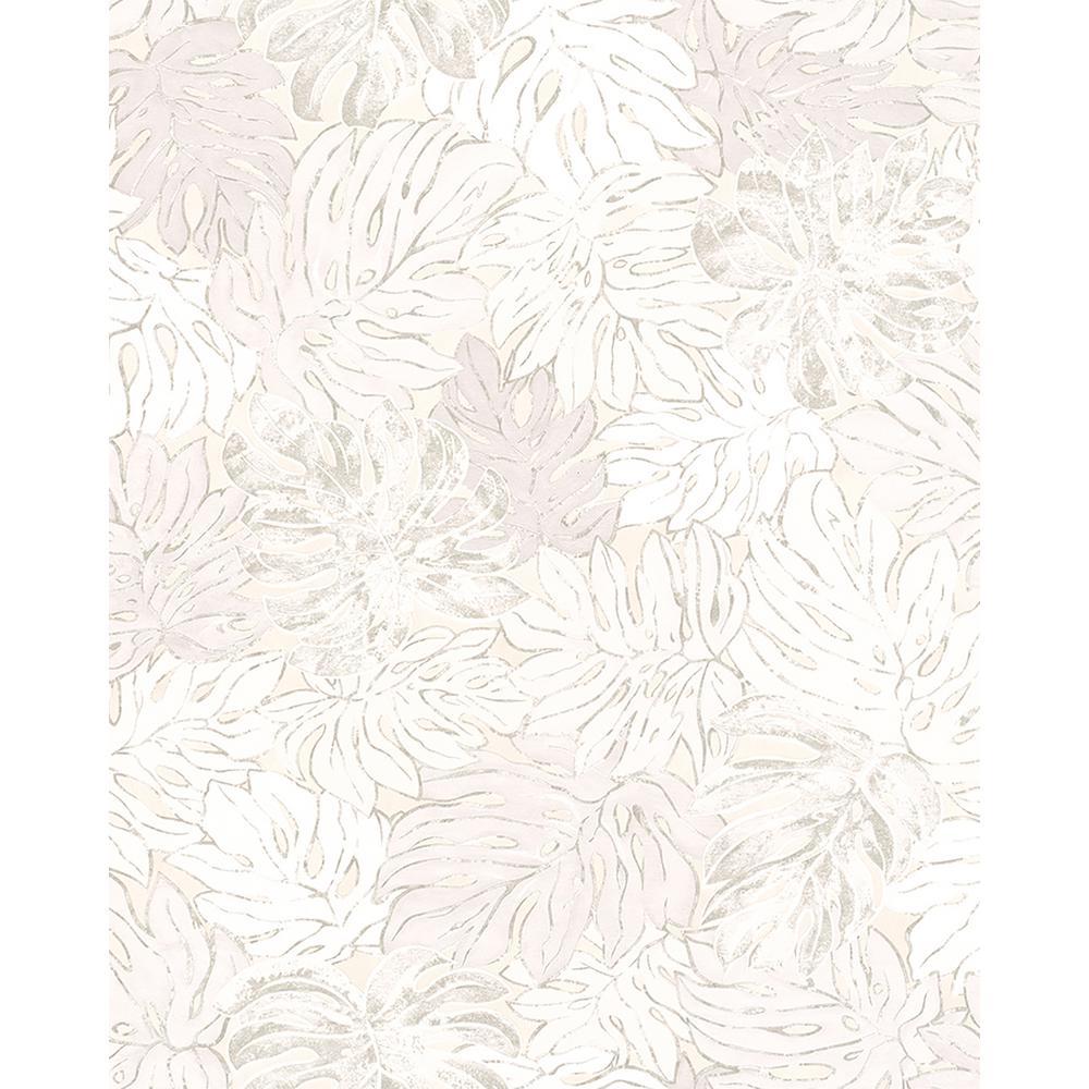 8 in. x 10 in. Cedar White Botanical Wallpaper Sample