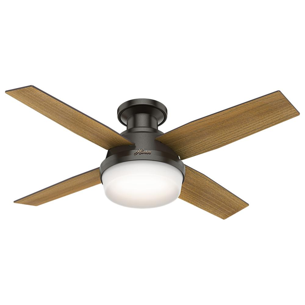 Dempsey 44 in. Low Profile LED Indoor Noble Bronze Ceiling Fan