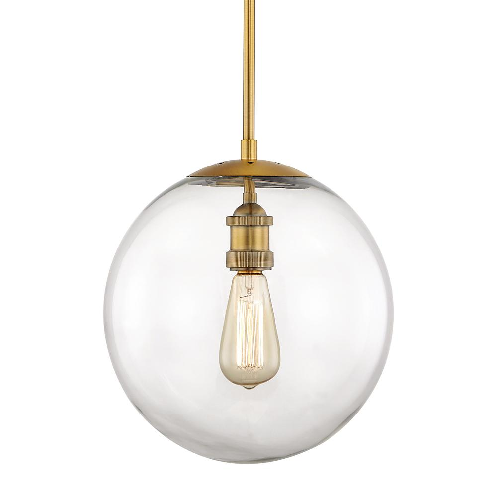 Home Decorators Collection 12 in. 1-Light Aged Brass Globe Pendant Vintage Bulbs Included