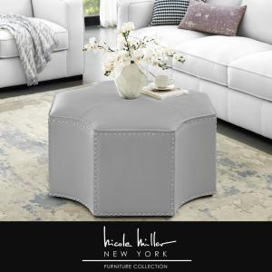 Tremendous Nicole Miller Joziah Silver Pu Leather Cocktail Ottoman With Cjindustries Chair Design For Home Cjindustriesco