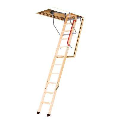LWF 8 ft. - 10 ft., 22.5 in. x 54 in. Fire Rated Insulated Wood Attic Ladder with 300 lb. Maximum Load Capacity