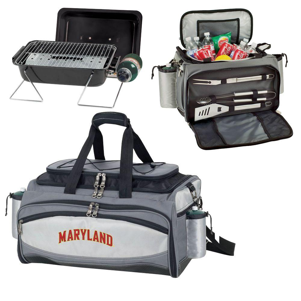 Picnic Time Maryland Terrapins - Vulcan Portable Propane Grill and Cooler Tote by Embroidered, Black/Gray