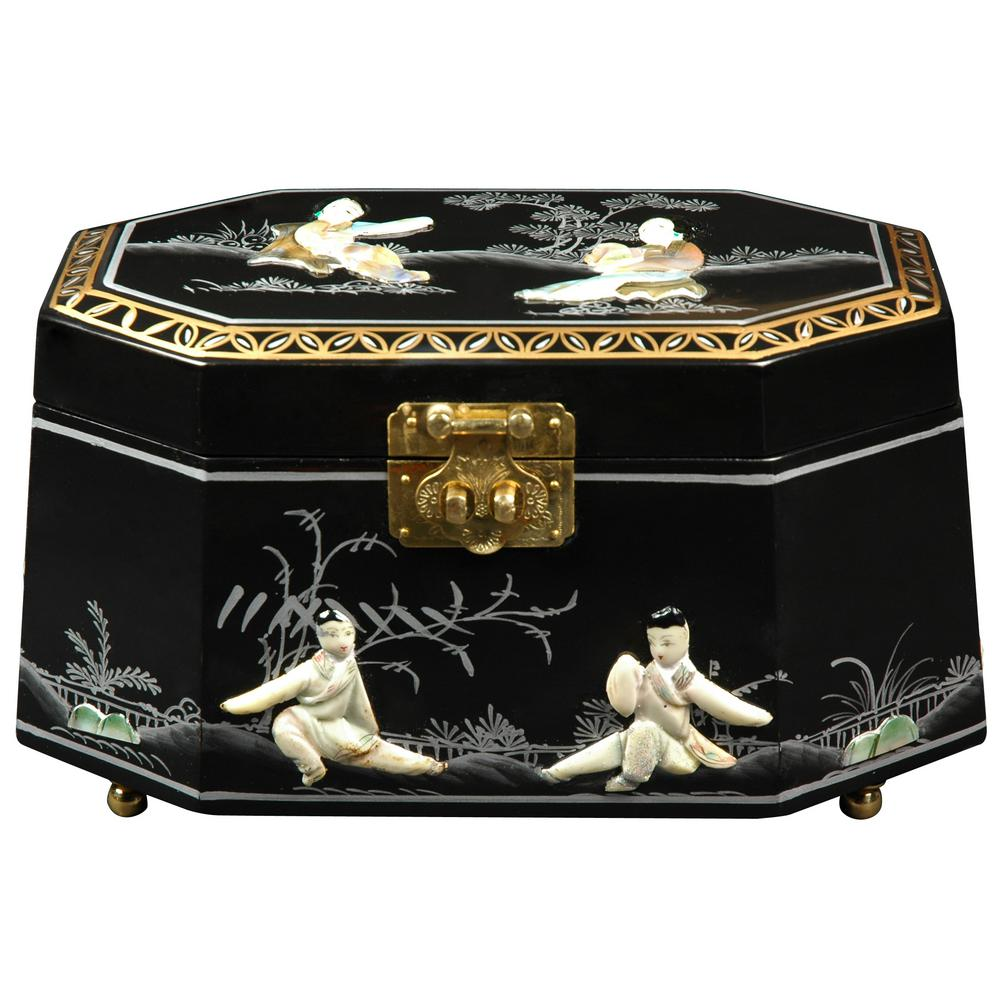 Oriental Furniture Antoinette Lacquer Jewelry Box in Black