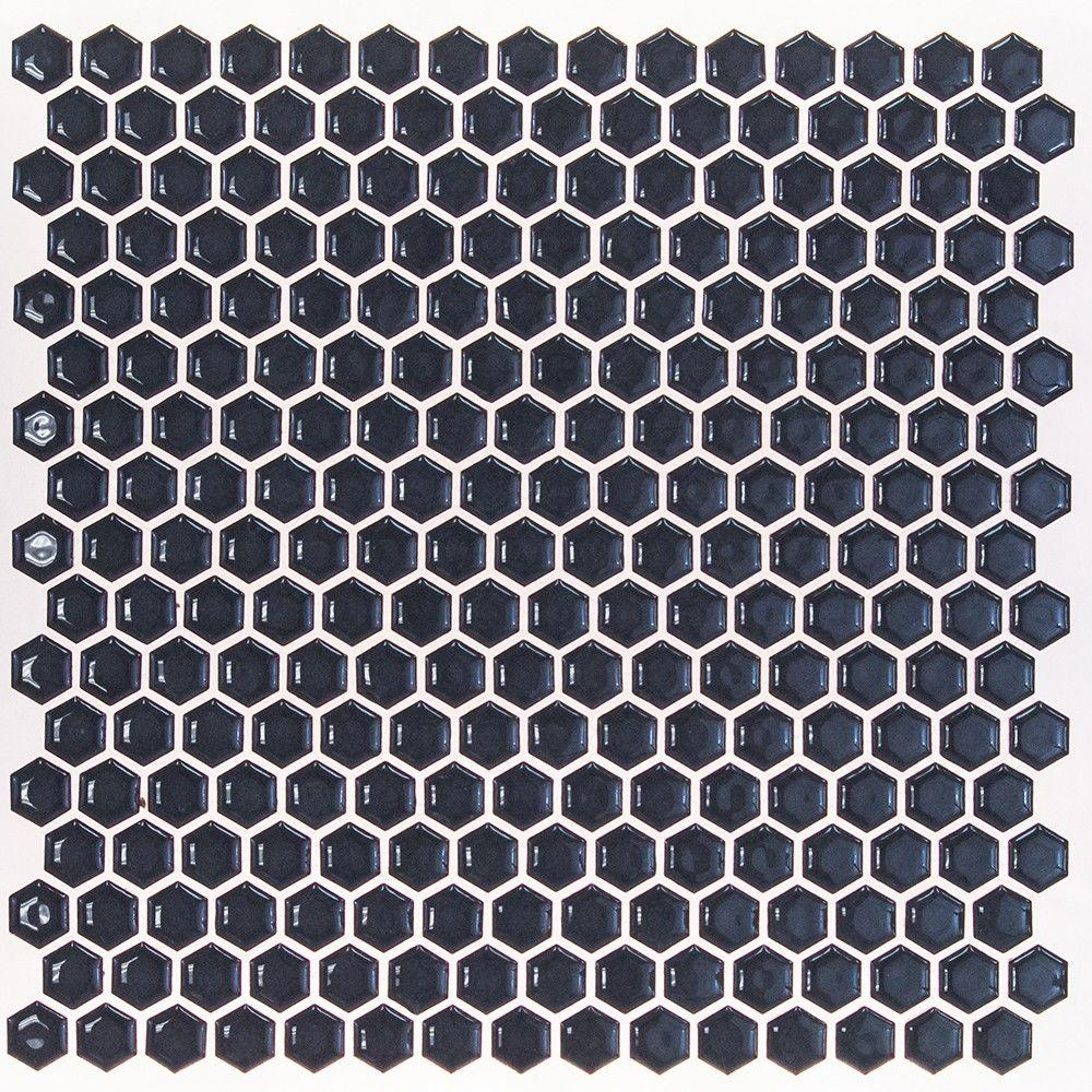 Bliss Edged Hexagon Polished Midnight Blue Ceramic Mosaic Floor and Wall