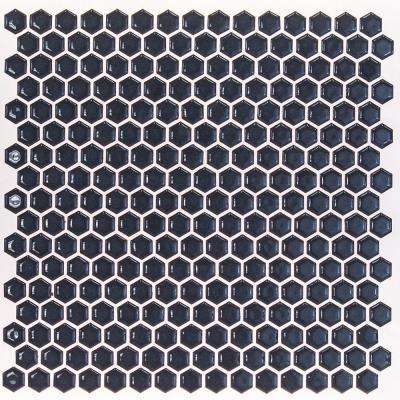 Bliss Edged Hexagon Polished Midnight Blue Ceramic Mosaic Floor and Wall Tile - 3 in. x 6 in. Tile Sample