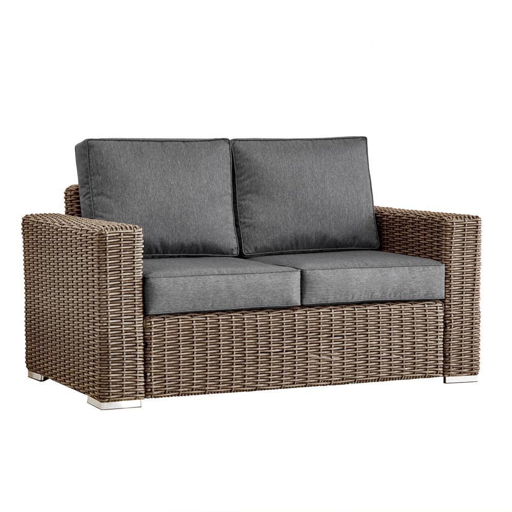 Camari Mocha Square Arm Wicker Outdoor Loveseat with Gray Cushion