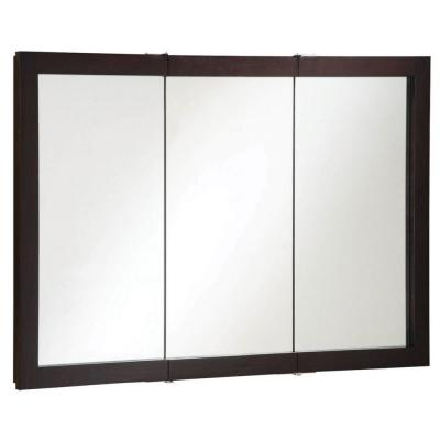 Ventura 48 in. W x 30 in. H x 6 in. D Framed Tri-View Surface-Mount Bathroom Medicine Cabinet in Espresso