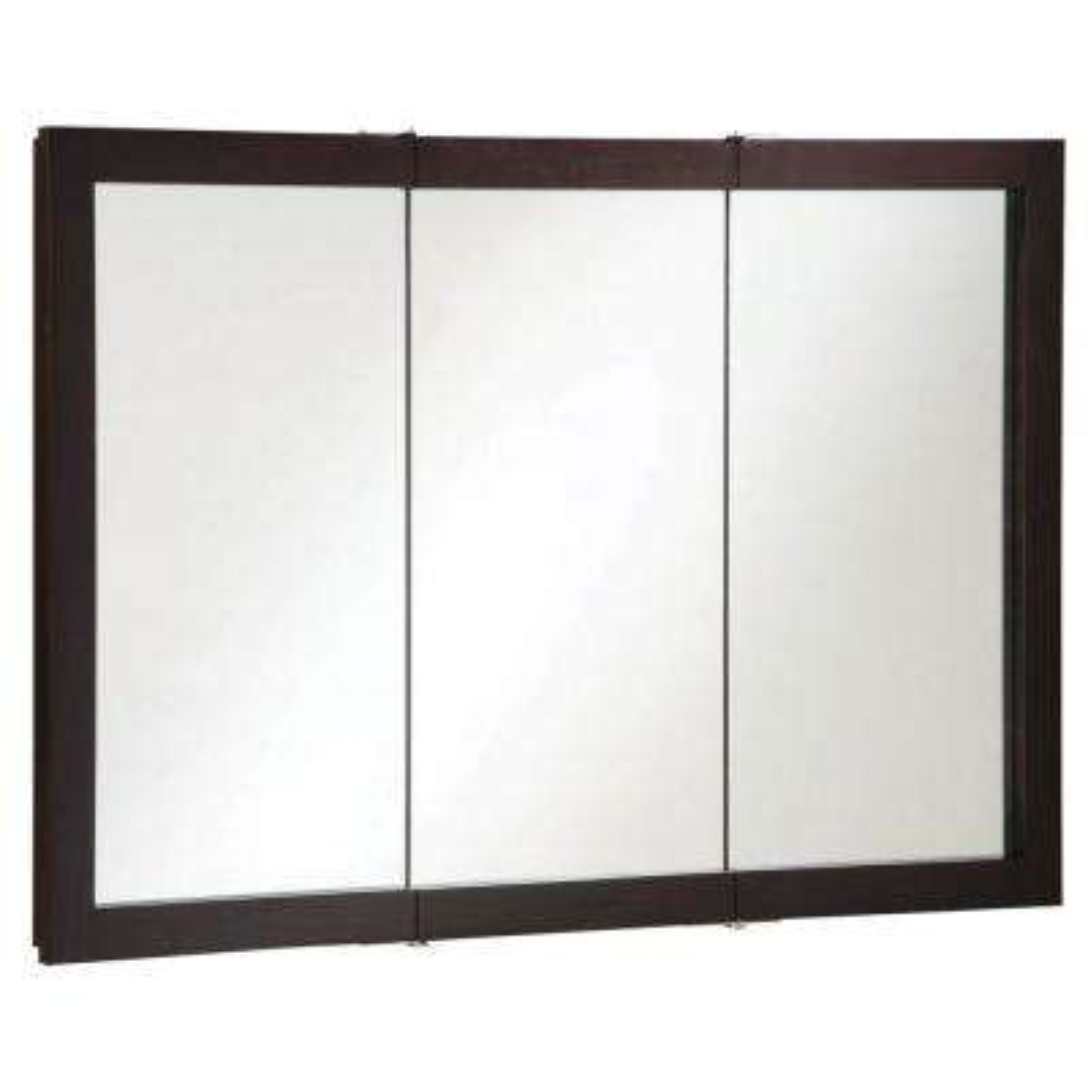 Ventura 48 in. W x 30 in. H x 6 in. D Framed Tri-View Surface-Mount Bathroom Medicine Cabinet in Espresso