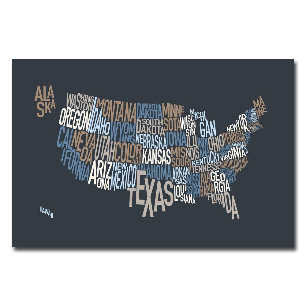 30 in. x 47 in. United States Text Map Canvas Art