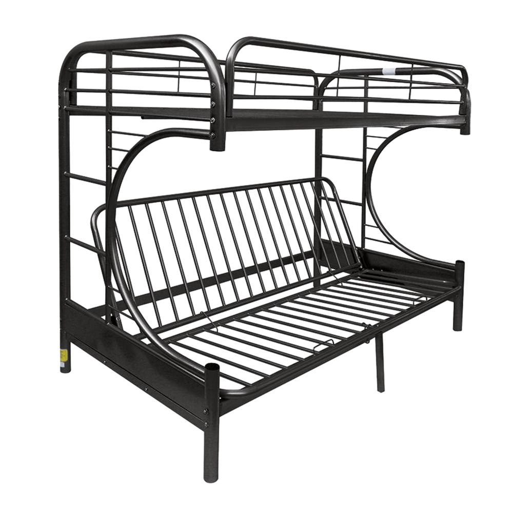 Twin Over Black Queen Metal Bunk Bed Eclipse