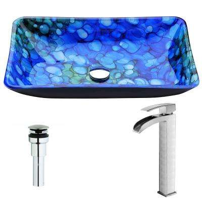 Voce Series Deco-Glass Vessel Sink in Lustrous Blue with Key Faucet in Brushed Nickel