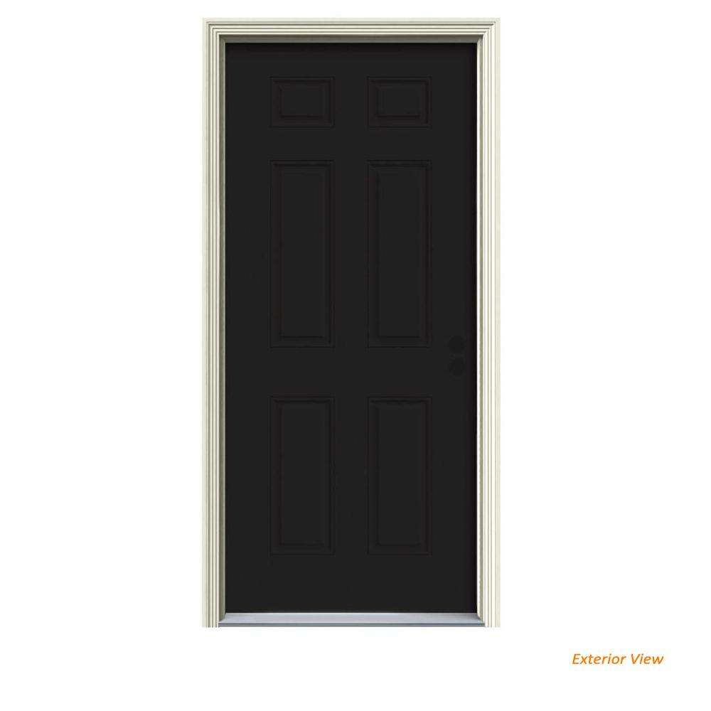 34 in. x 80 in. 6-Panel Black Painted Steel Prehung Left-Hand