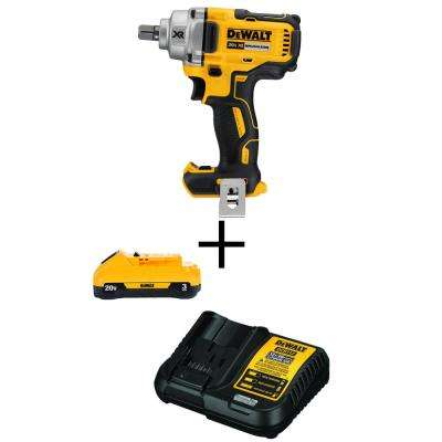20-Volt MAX Cordless Brushless 1/2 in. Impact Wrench (Tool-Only) with Free 20-Volt MAX Battery 3.0Ah & Charger
