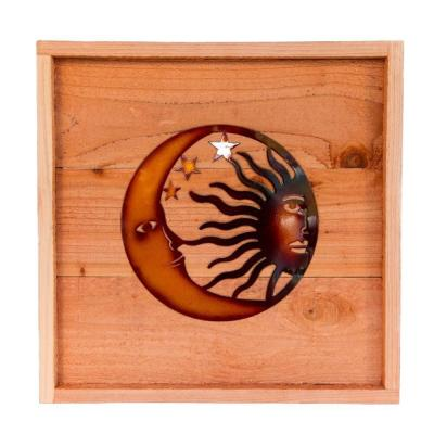 18 in. x 18 in. Wood Wall Art with Celestial Design
