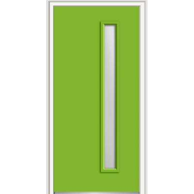 30 in. x 80 in. Viola Low-E Glass Right-Hand 1-Lite Clear Midcentury Painted Fiberglass Smooth Prehung Front Door