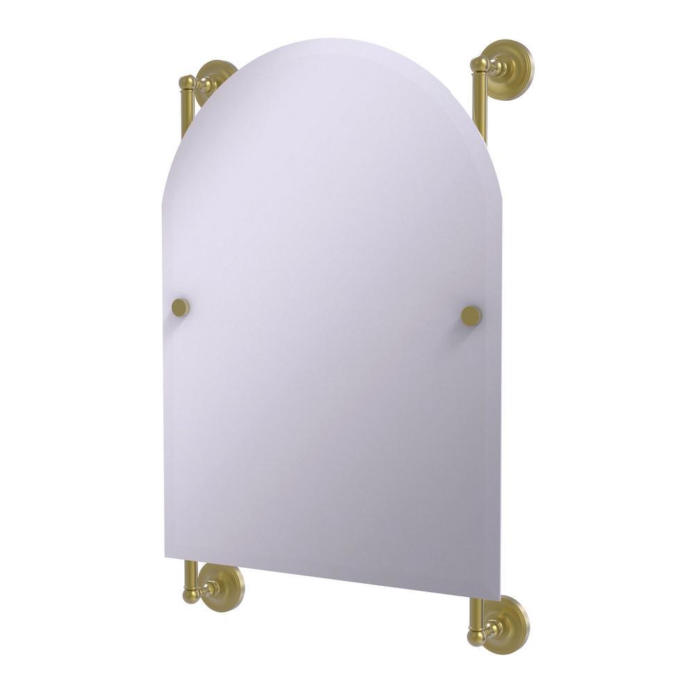 Allied Brass Prestige Regal 21 in. x 29 in. Single Arched Top Frameless Rail Mounted Mirror in Satin Brass