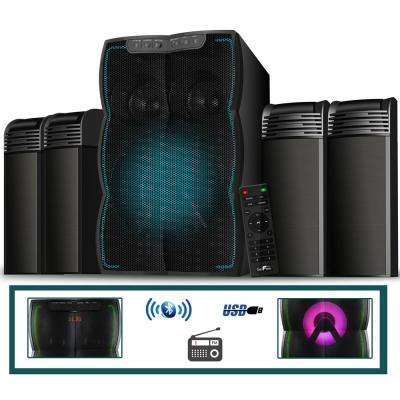 Bluetooth 4.1 Channel Multimedia Wired Speaker Shelf System with Sound Reactive LED Lights