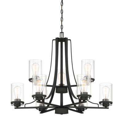 Jedrek 9-Light Black Chandelier with Clear Glass Shade