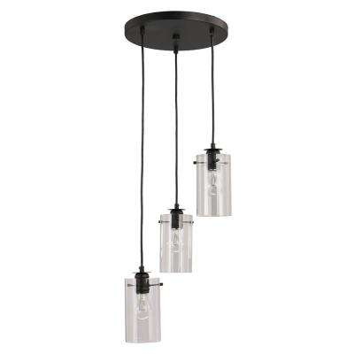 Brooklyn Collection 3-Light Black Pendant with Clear Glass Shades