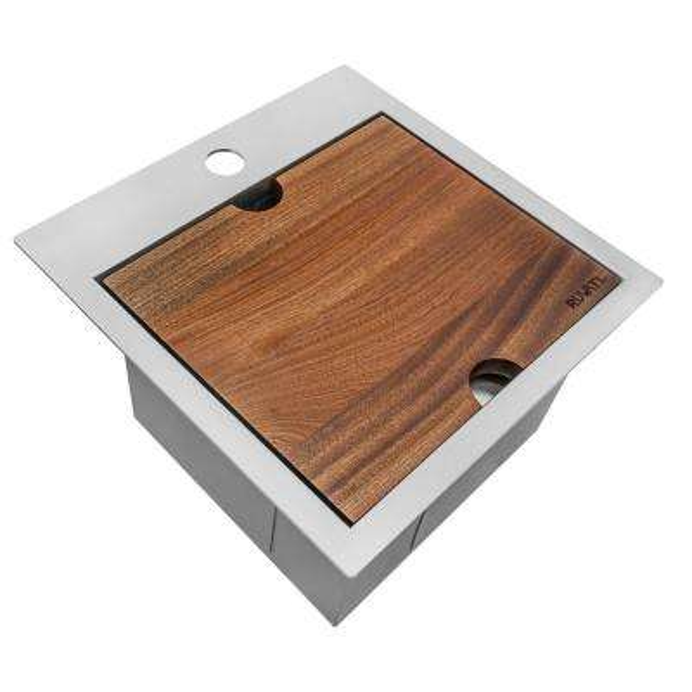 Workstation Drop-in Stainless Steel 15 in. x 15 in. Topmount Bar Prep RV Kitchen Sink 16-Gauge Square Single Bowl