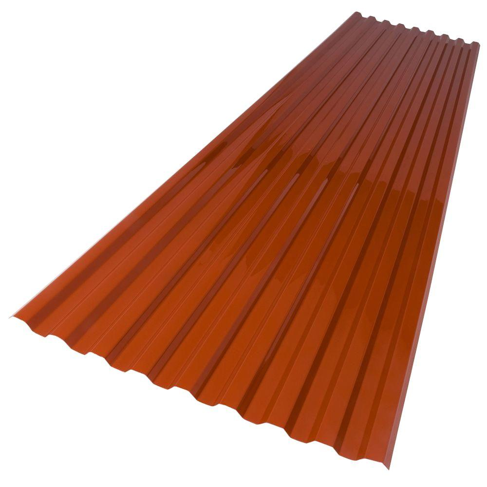 26 in. x 6 ft. Red Brick Polycarbonate Roof Panel