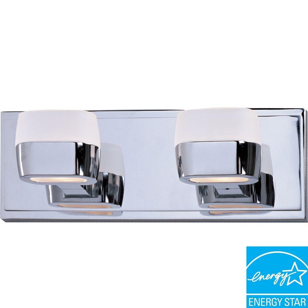 Illumine 2-Light Polished Chrome Bath Vanity Light with Matte White Glass