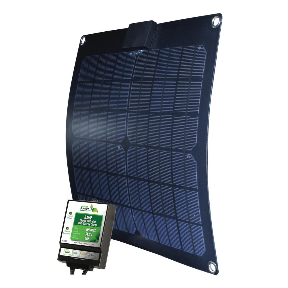 15-Watt Semi-Flex Monocrystalline Solar Panel with Charge Controller for 12-Volt