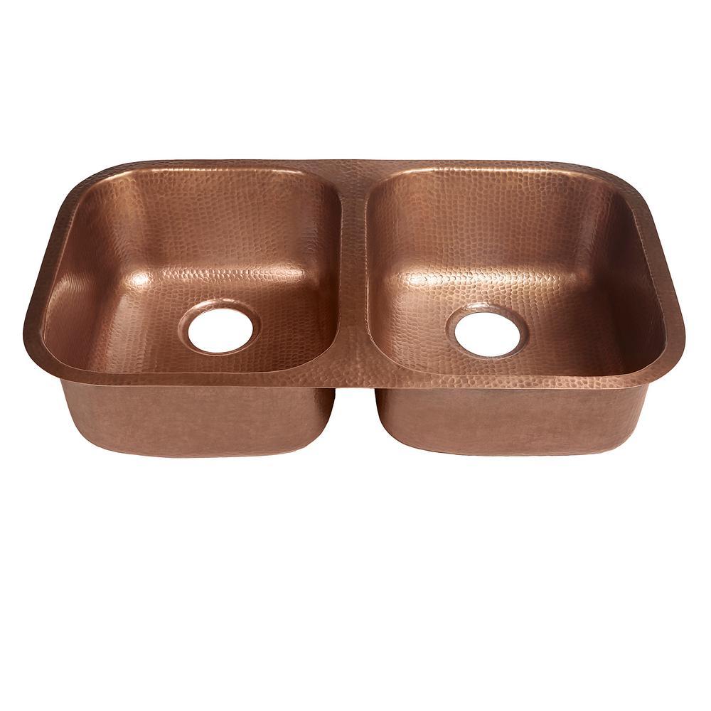 Kandinsky Undermount Solid Copper 32 in. 50/50 Double Bowl Kitchen Sink in Antique Copper