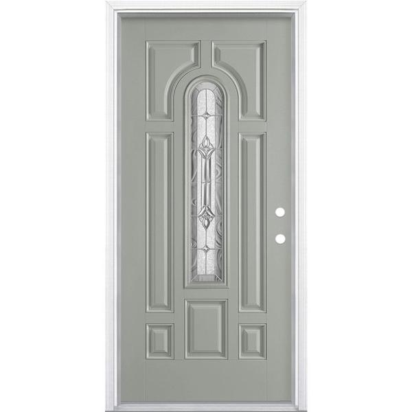 36 in. x 80 in. Providence Center Arch Left Hand Inswing Painted Smooth Fiberglass Prehung Front Door w/ Brickmold