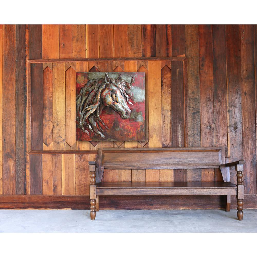 "40 in. x 40 in. ""Red Stallion"" Metal Wall Art"