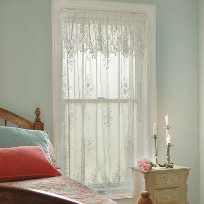 Semi-Opaque Tea Rose 60 in. L Polyester Valance in White