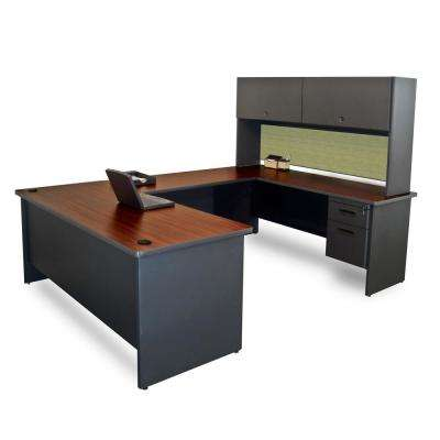 8 ft. 6 in. W x 6 ft. D Dark Neutral and Peridot U-Shaped Desk with Flipper Do or Unit