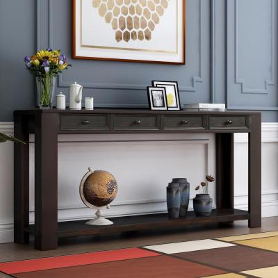 Black Grange Regency Console Table with 4-Drawer