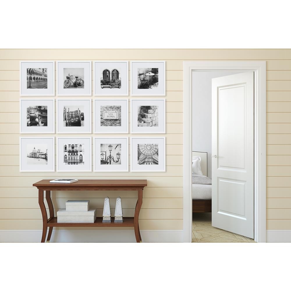 pinnacle gallery perfect 8 in x 8 in white collage picture frame set 16fw2234 the home depot. Black Bedroom Furniture Sets. Home Design Ideas