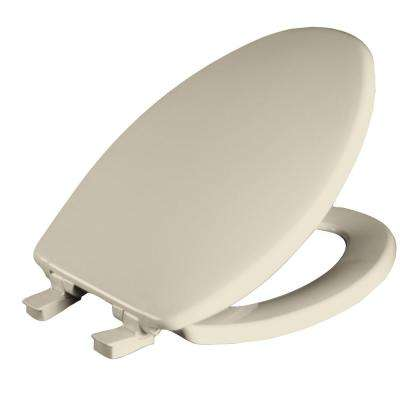 Whisper Close Elongated Closed Front Toilet Seat in Bone