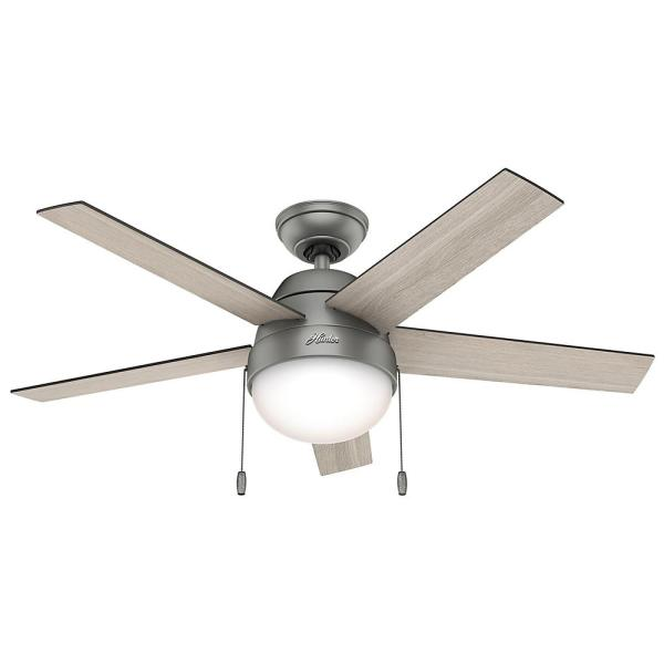 Anslee 46 in. Indoor Matte Silver Ceiling Fan with Light