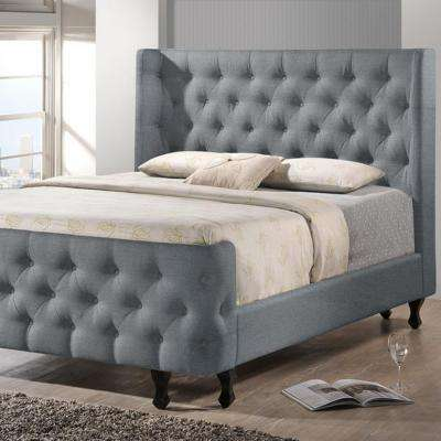 Francesca Transitional Gray Fabric Upholstered Queen Size Bed