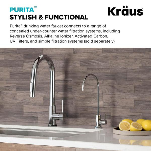 Kraus Purita Single Handle Water Dispenser Faucet For Water Filtration System In Chrome Ff 100ch The Home Depot