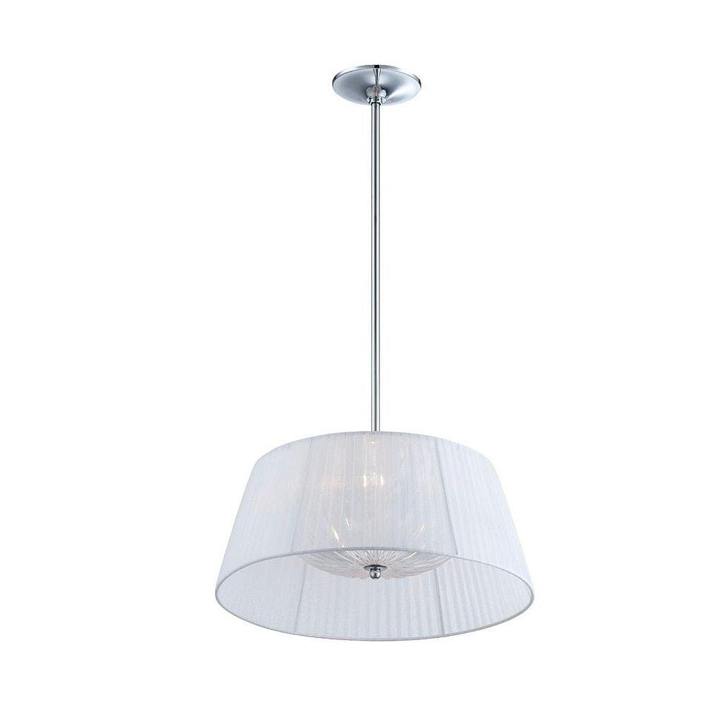 Salvo Collection 2-Light Chrome and White Pendant