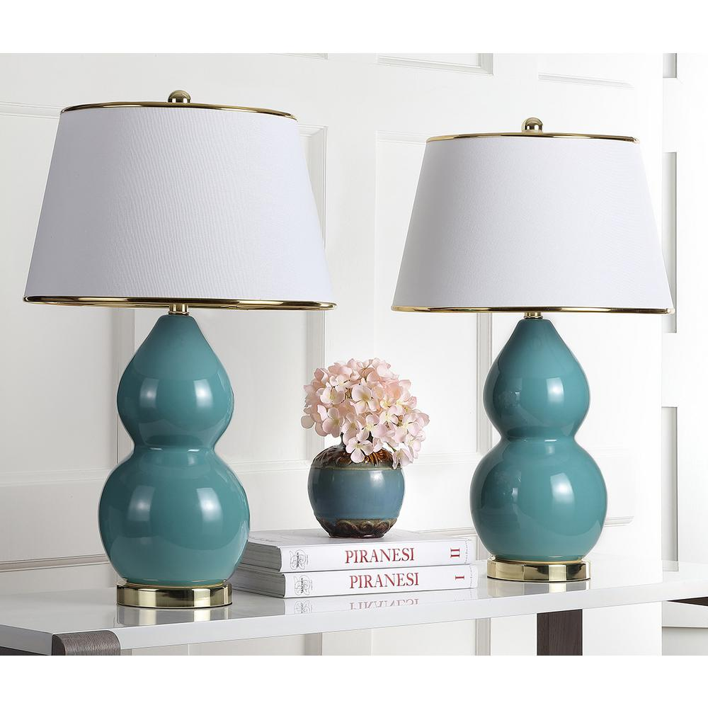 Safavieh Jill 25 5 In Marine Blue Double Gourd Ceramic Lamp Set Of